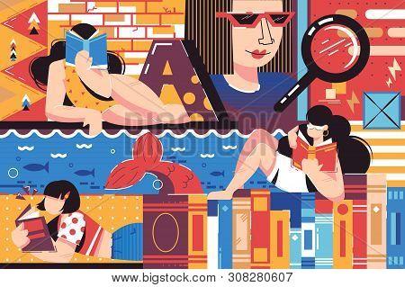 Female Bookworm Vector Illustration. Gorgeous Women Reading Interesting Books. Pretty Female Plungin