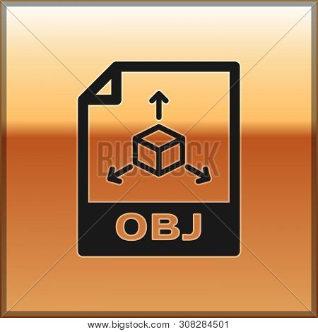 Black Obj File Document Icon. Download Obj Button Icon Isolated On Gold Background. Obj File Symbol.