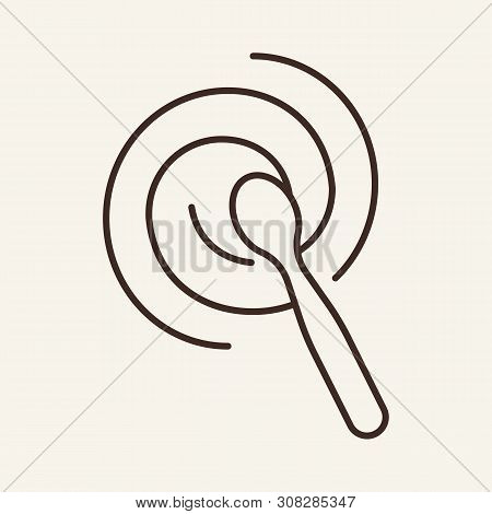 Stir With Spoon Line Icon. Swirl, Liquid, Culinary. Cooking Concept. Vector Illustration Can Be Used