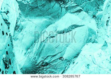 Vintage Azure Background. Rough Painted Wall Of Turquoise Color. Imperfect Plane Of Cyan Colored. Un