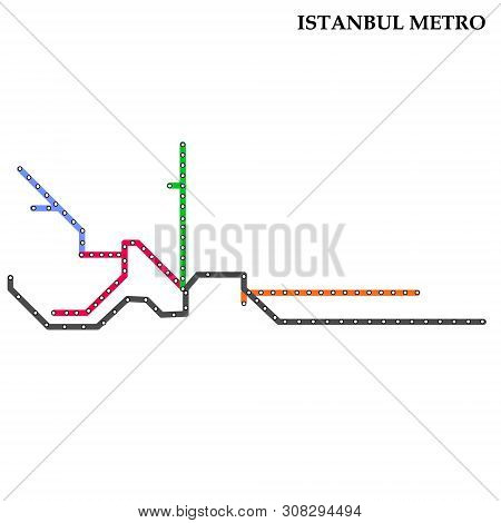 Map Of The Istanbul Metro, Subway, Template Of City Transportation Scheme For Underground Road.