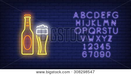 Beer Bottle And Glass On Brick Background. Neon Style Vector Illustration. Bar, Pub, Alcoholic Bever