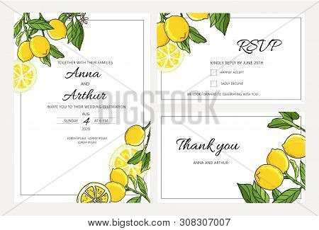 Set Of Botanical Wedding Lemon Tree Invitations With Lemon And Leaves.