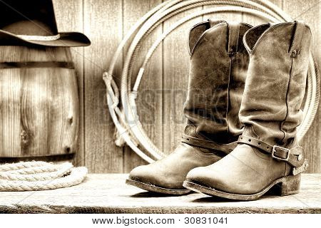American West Rodeo Cowboy Boots At A Ranch Barn