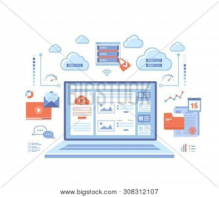 Cloud Computing And Web Services, Technology, Data Storage, Hosting, Connection. Login Page And Pass