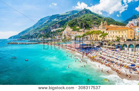 Amalfi, Italy - June 23, 2019: Landscape With Amazing Beach Of Amalfi Town At Famous Amalfi Coast, I
