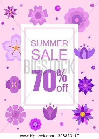 Summer Sale Banner With Beautiful Purple Flowers. Flower Boutique Poster With Floral Decoration. Ret