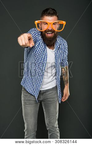 Are You Going To The Party. Party Man Pointing Finger On Grey Background. Bearded Man Wearing Party
