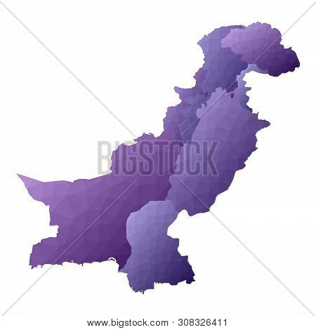 Pakistan Map. Geometric Style Country Outline. Dramatic Violet Vector Illustration.