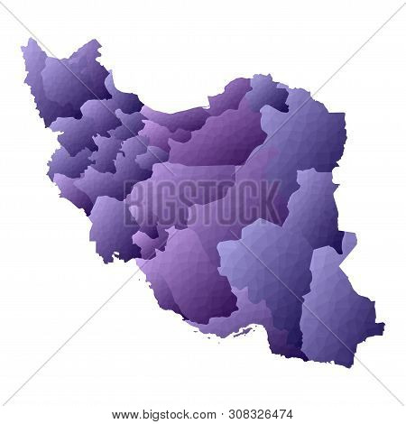Iran Map. Geometric Style Country Outline. Radiant Violet Vector Illustration.