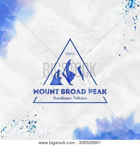 Mountain Broad Peak Logo. Triangular Mountain Blue Vector Insignia. Broad Peak In Karakoram, Pakista