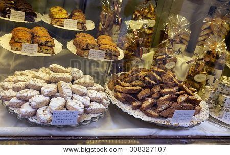 Florence, Italy - April 3, 2018: Display With Different Types Of Italian Biscuits.