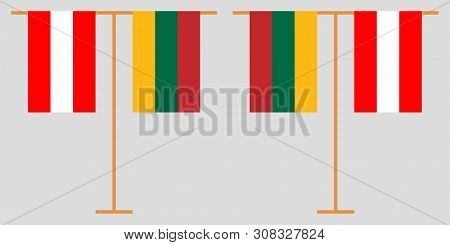 Austria And Lithuania. The Austrian And Lithuanian Vertical Flags. Official Colors. Correct Proporti