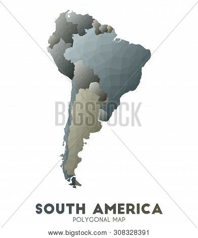 South-america Map. Admirable Low Poly Style Continent Map. Classic Vector Illustration.