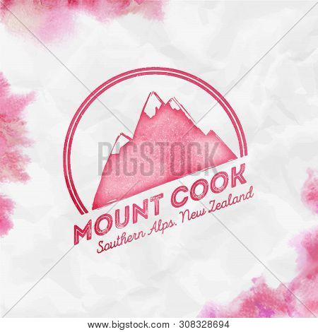 Mountain Cook Logo. Round Mountain Red Vector Insignia. Cook In Southern Alps, New Zealand Outdoor A