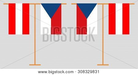 Czech Republic And Belgium. The Czech And  Belgian Vertical Flags. Official Colors. Correct Proporti