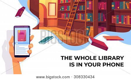 Online Library App For Reading, Banner. Hand Holding Smartphone With Electronic Book Store Applicati