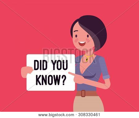 Did You Know Female Announcement. Girl With Sign, Click For Useful Information, Tutorial Help Banner