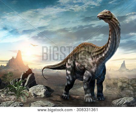 Apatosaurus Dinosaur From The Jurassic Era Scene 3d Illustration