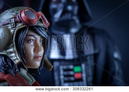 JULY 24 2019: Recreation of a scene from Star Wars Marvel Comics Darth Vader series with Doctor Chelli Lona Aphra meeting with Vader - Hasbro Black Series action figures