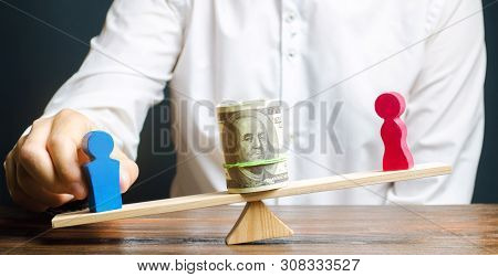 Wooden Figures Of Man And Women On The Scales. Concept Of Gender Pay Gap. Income Inequality. Oppress