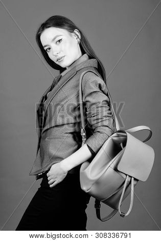 Female Bag Fashion. Girl Student In Formal Clothes. Student Life. Smart Beauty. Nerd. Business. Shoo