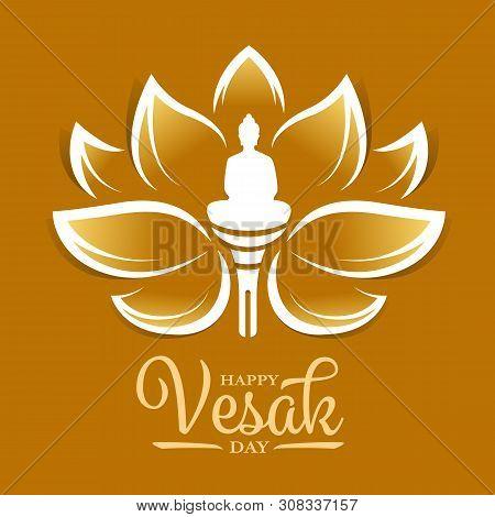 Happy Vesak Day Banner With Buddha Meditation In Gold Lotus Flower Sign Vector Design