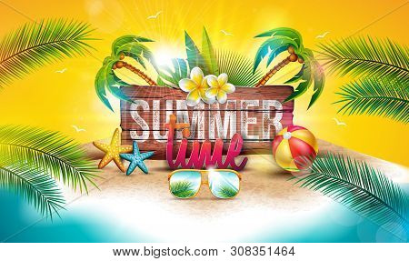 Vector Summer Time Holiday Illustration With Typography Letter On Vintage Wood Board Background. Tro