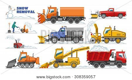 Snow Removal Vector Winter Machine Snowplow Equipment Tractor Cleaning Removing Snow Illustration Se