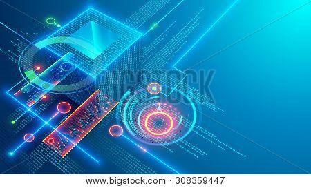 Digital Background. Cube Or Box Consists Matrix Of Digits. Block Chain Of Abstract Finance Data, Bus