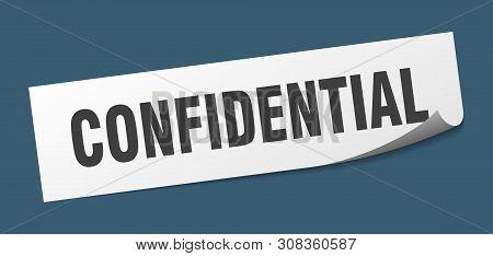 Confidential Square Sticker. Confidential Sign. Confidential Banner