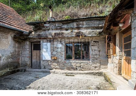 Brhlovce, Slovakia - August 05, 2015:  Old Houses Carved In Stones, Rocks - Undergound.