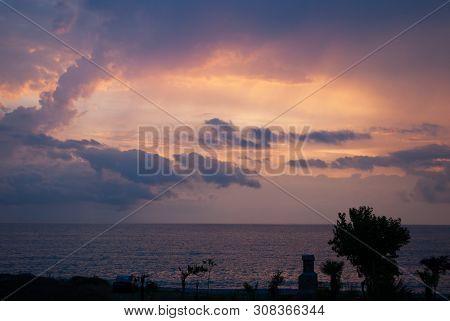 Dramatic Landscape Over The Sea, Gloomy Sunset On The Sea