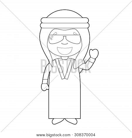 Easy Coloring Cartoon Character From Iraq Or Persia Dressed In The Traditional Way Vector Illustrati