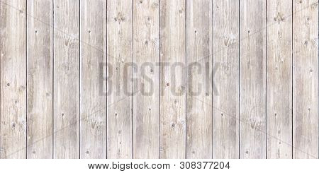 Seamless Background Texture Of Old White Painted Wooden Lining Boards Wall. Bright Natural Wood Text