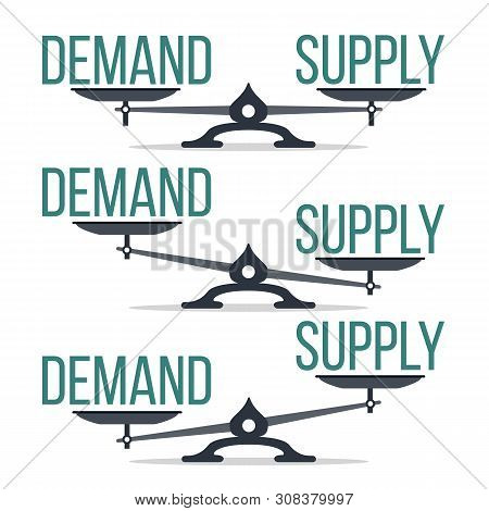 Demand And Supply Balance On Scale Set . Imbalance Between Demand And Offer Economic Comparison Coll