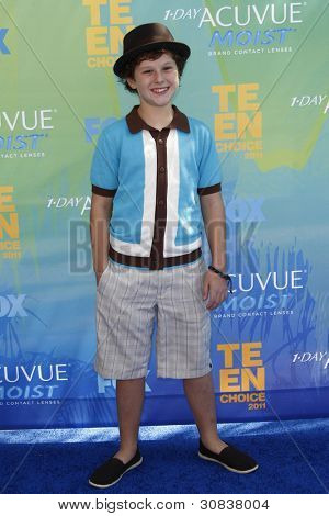 LOS ANGELES - AUG 7: Nolan Gould arrives at the 2011 Teen Choice Awards held at Gibson Amphitheatre on August 7, 2011 in Los Angeles, California