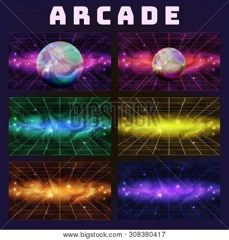 Galaxy Collection On Arcade Background Set . Multicolored Assemblage Mockup Space With Sphere Isolat