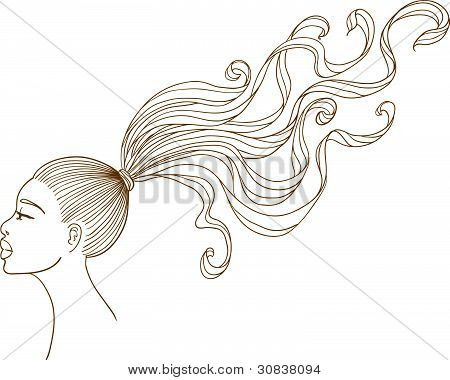 Vector portrait of a black girl with long curly hair