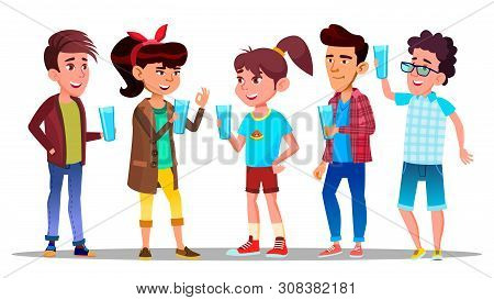 Thirsty Characters Children Drink Water . Smiling Teenagers Holding Glasses With Freshness Beverage And Healthy Liquid Enjoying And Quench Thirsty. Design Flat Cartoon Illustration poster