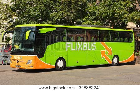 Zurich, Switzerland - May 27, 2019: A Flixbus Coach At A Bus Station In The City Of Zurich. The Flix