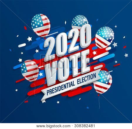 2020 Usa Presidential Election Dynamic Banner. Poster For American Vote. Template For Politic Design