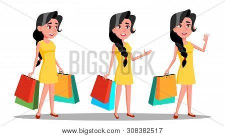 Character Young Woman Shopaholic With Bag . Beautiful Smiling Glamor Girl Enjoyment Shopogolic. Happ