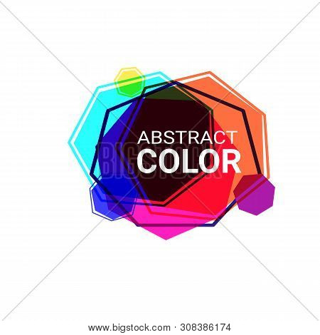 Abstract Graphic Forms. Orange, Cyan, Blue, Yellow, Pink, Purple Heptagons. Irregular Shapes, Frames