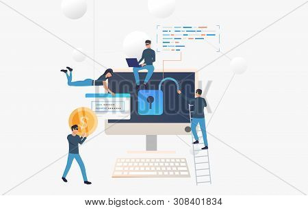Cyber Criminals Hacking Into Bank Account. Cartoon Hackers Opening Lock, Carrying Password And Money