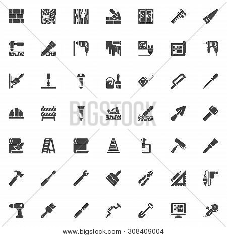 Construction And Home Repair Tool Vector Icons Set, Modern Solid Symbol Collection, Filled Style Pic
