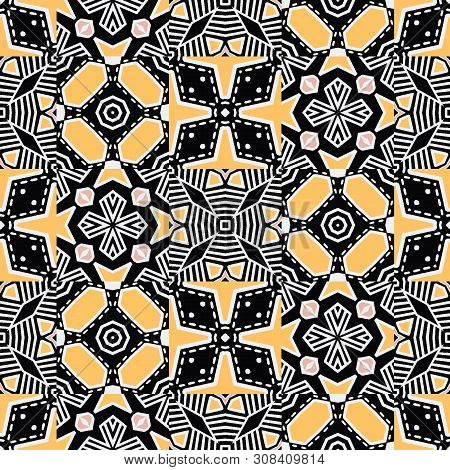 Bold hand drawn floral quilt. Vector pattern seamless background. Symmetry geometric abstract illustration. Trendy retro quilted 60s style home decor, decorative triangle fashion print, black yellow. poster