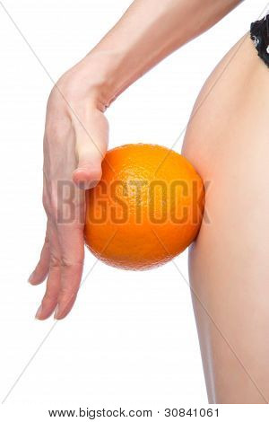 Hip And Orange In Hand Cellulite Liposuction Weight Loss