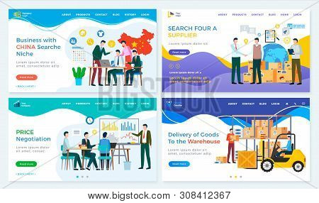 Business With China Vector, Team Search For Niche And Supplier, Price Negotiation And Delivery Of Go