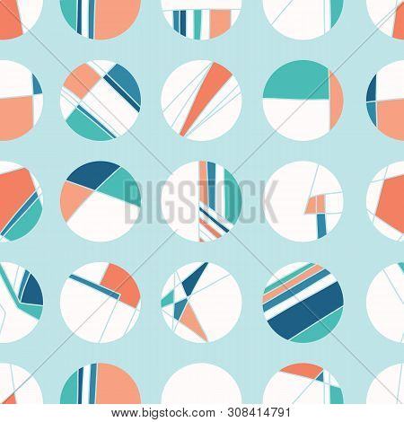 Maritime Signal Flag Style Polka Dot Circles. Vector Pattern Seamless Background. Hand Drawn Geometr